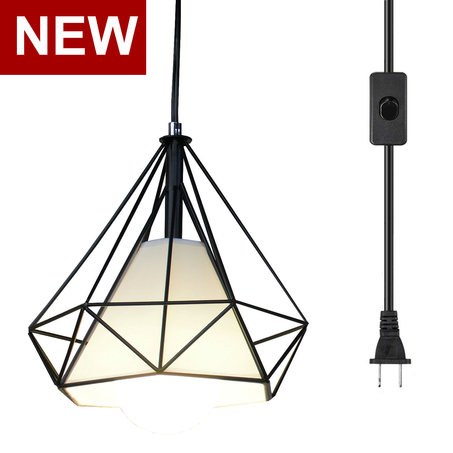 Ganeed Plug In Pendant Light,Industrial Hanging Pendant Lights With Metal Cage Shape,Vintage Hanging Light Fixture With 16.4ft C