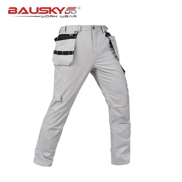 c1ea402c774 Verano Hombre ligero multi bolsillos pantalones de trabajo ropa de trabajo mecánico  de carga de trabajo