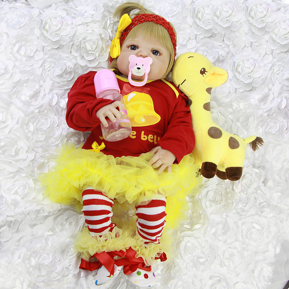 Lifelike Russian Babies Girl 23'' Reborn Dolls Full Vinyl Body Christmas New Baby Doll with Yellow Giraffe Toy For Toddler Gifts lifelike american 18 inches girl doll prices toy for children vinyl princess doll toys girl newest design