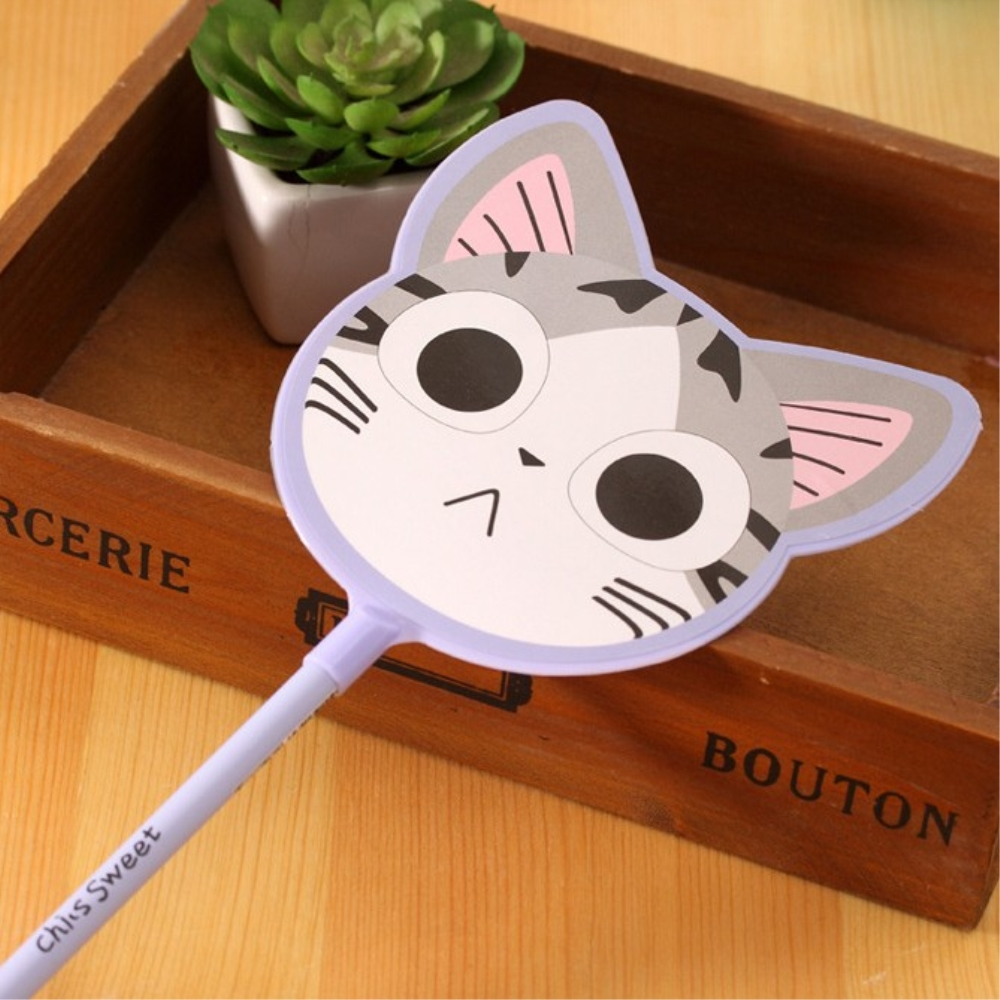 Creative Kawaii Cheese Cat Fan Shaped Cartoon Gel Pen balck Ink Writing Signing fan shape gel Pens School Office Supplie Escolar