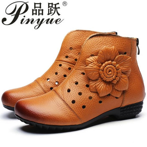 Summer High Quality Genuine Leather Women Boots Shoes Platform Thick Heels Round Toes Cut Out Hole Flower Ankle Boots