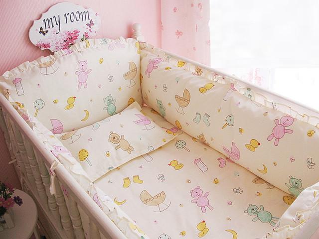 Promoção! 6 PCS algodão 100% de cama de algodão em torno de cama ( bumpers folha + travesseiro )