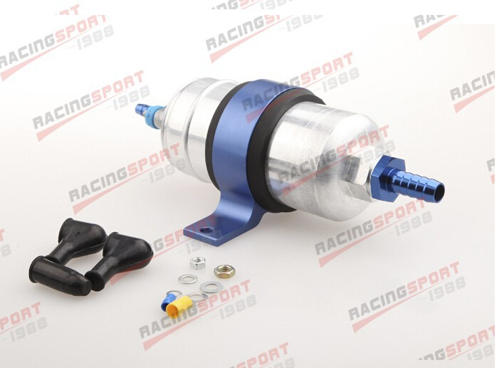 Best External Fuel Pump 044 +Billet Bracket Blue+1/2 Inlet 5/16Outlet BarbBest External Fuel Pump 044 +Billet Bracket Blue+1/2 Inlet 5/16Outlet Barb