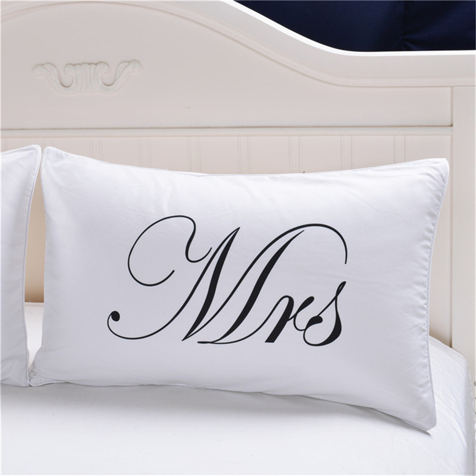 MR MRS Decorative White Couple Pillow Case Pillowcase Cover Home Decoration Gift One Pair Pillows Bedding Set Bedding Outlet  (3)
