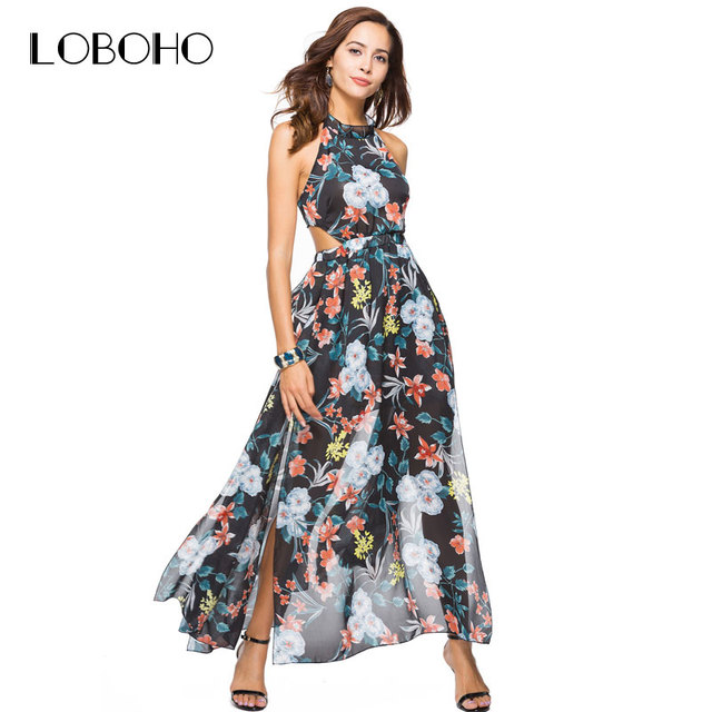 7d2028ed1d Chiffon Maxi Dress Summer 2018 Fashion Holiday Sexy Women Dress With Open  Back Halter Boho Style Floral Print Dresses Open Slit