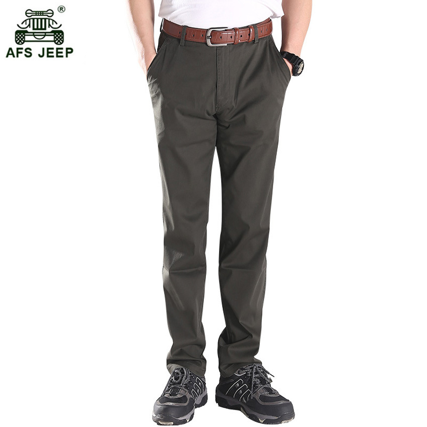 New Design Casual Men Pants Cotton Slim Pant Straight Trousers Fashion Solid Men Military Work Male Trousers Plus Size 42 75wy