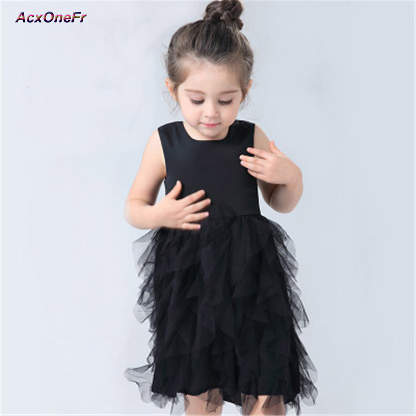 Girls Black Tutu Dress Baby Bridesmaid Girl Wedding Dress Tulle Ball Gown Kids Halloween Evening Party Prom Dresses  3-8 WM-088 kids girls bridesmaid wedding toddler baby girl princess dress sleeveless sequin flower prom party ball gown formal party xd24 c