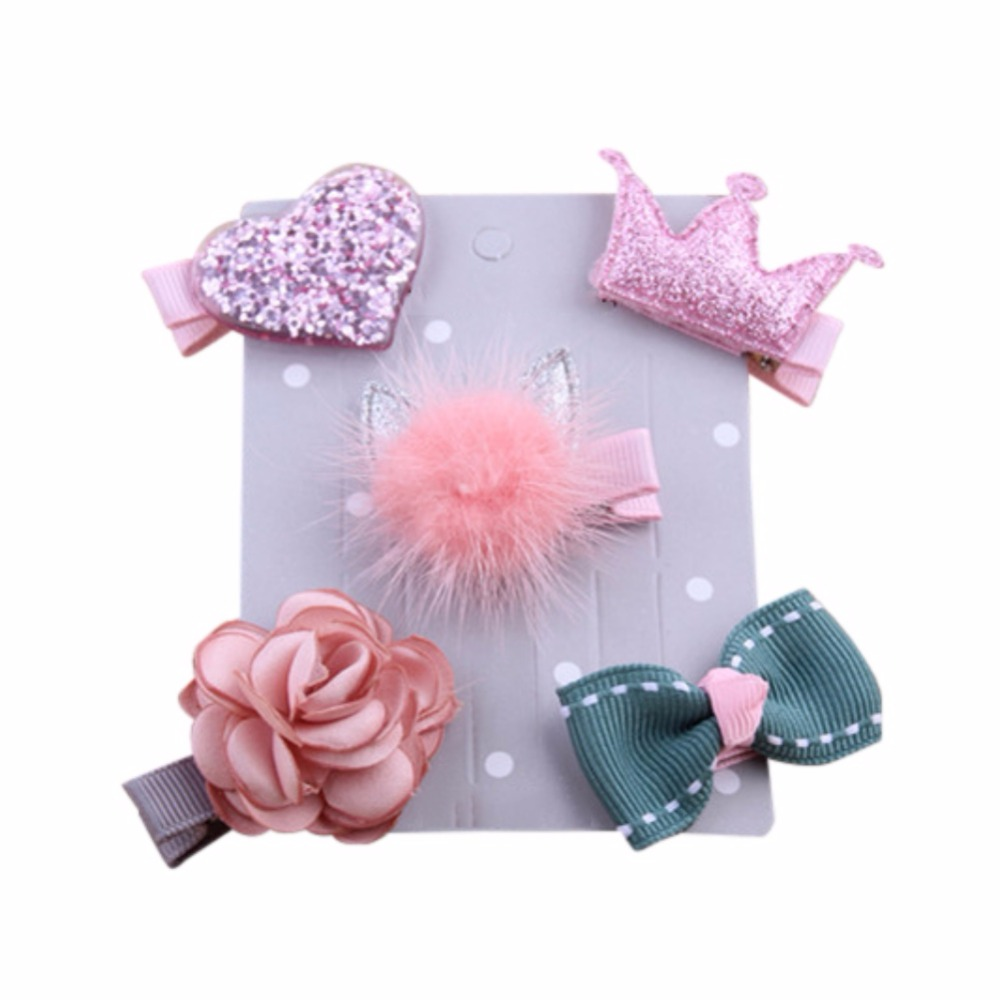 5 Pcs Set Carton Lovely Girl Hair Accessories Hairpin Jewelry Birthday Gift Female Treasure Suit Headdress New