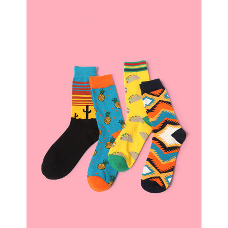 New Arrival Unisex Happy Socks Art Abstraction Creative Pattern Socks Fruit Pineapple Fashion Women Funny Sock For Spring Winter