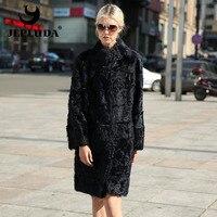 JEPLUDA New Pure Colors Women Real Lamb Fur Coat High Quality Natural Real Fur Coat Genuine