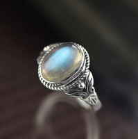 S925 silver silver Thailand hand inlaid natural moonlight Labradorite fashion female ring antique old classic
