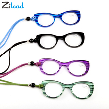 Zilead Retro Cat Eye Hold On The Neck Presbyopia Reading Glasses High Definition Resin Unbreakable Transparent Ultrlight Oculos