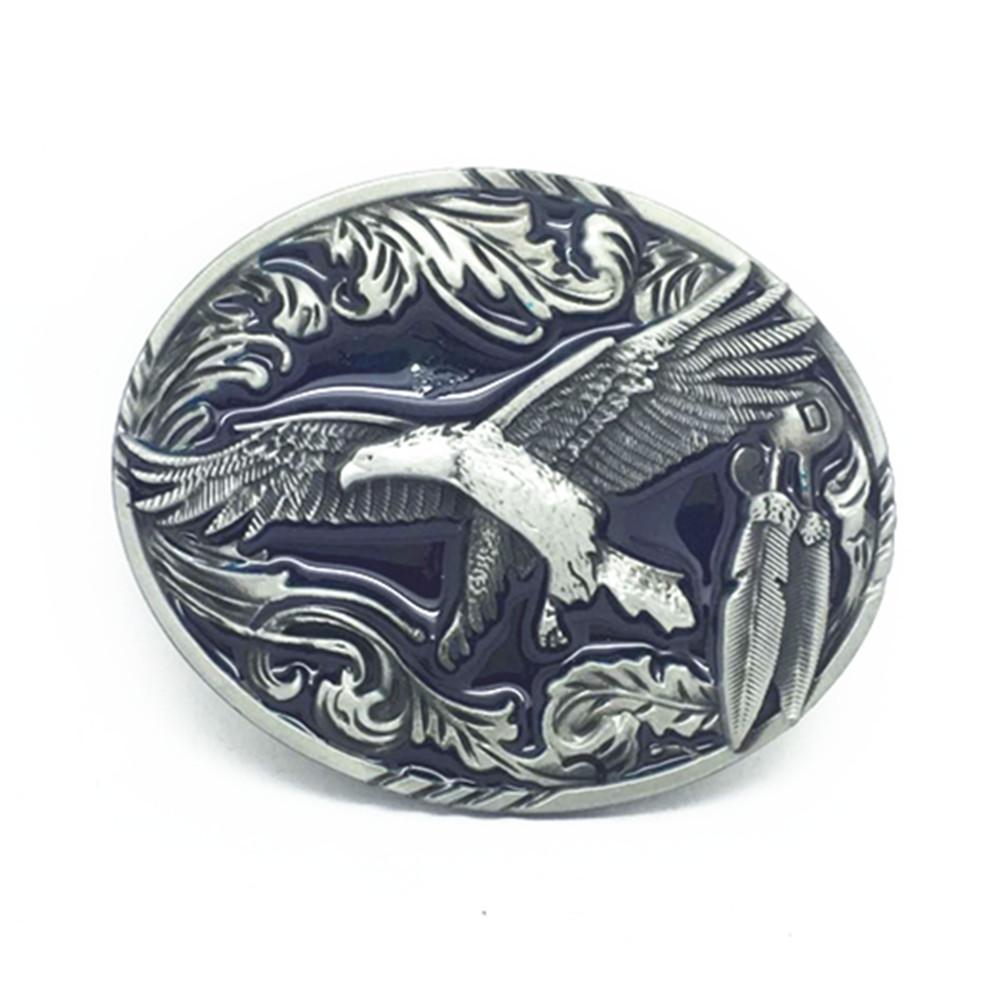 Western Cowboy Belt Buckles Eagle Zinc Alloy Smooth Button Men's Classic Button For 3.8 Belts