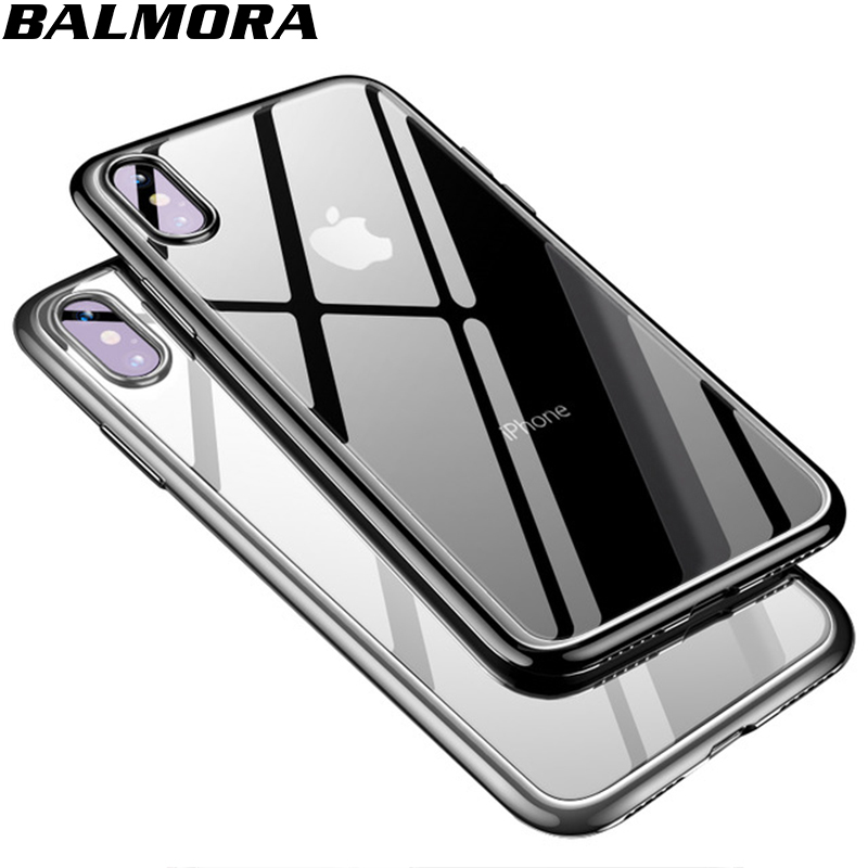 BALMORA Plating Clear Case For iPhone X Soft Silicone