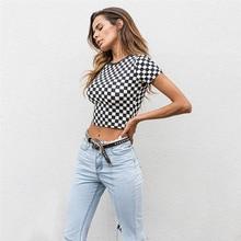New Women Spring Summer Slim T-shirt Black White Checkerboard Pattern Plaid Crop Tops Short Sleeve Cotton T Shirt