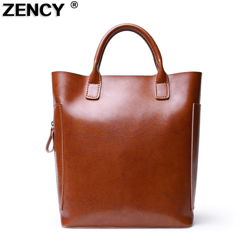 ZENCY Fashion Shopping Style Handbags Women Bucket Genuine Second Layer Cow Leather Shoulder Messenger Cowhide Tote Bags fashion leather handbags luxury head layer cowhide leather handbags women shoulder messenger bags bucket bag lady new style