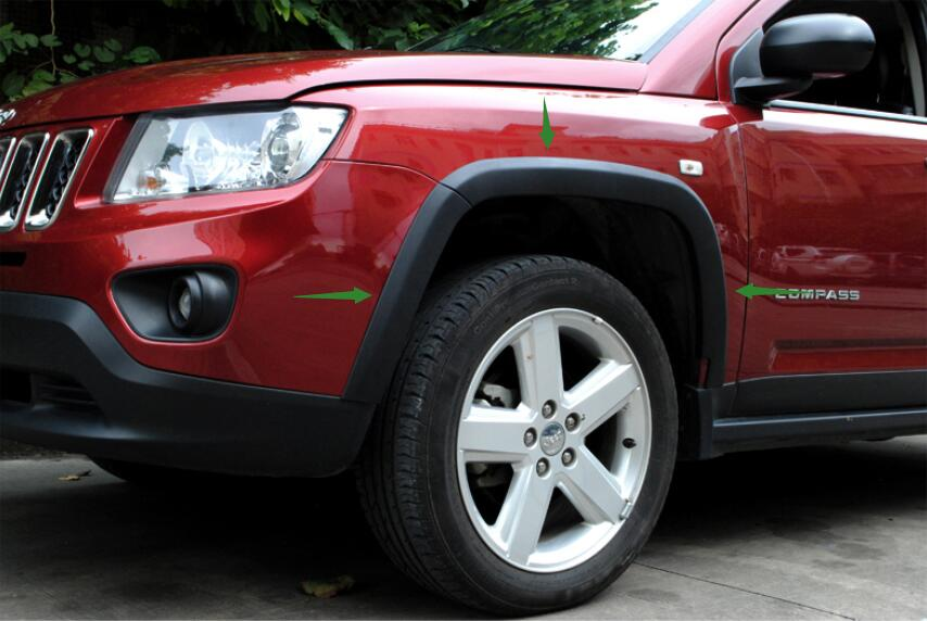 High Quality Car styling FOR Jeep Compass 2011 2016 TOUGH FENDER FLARES JUNGLE GUARD WHEEL ARCH