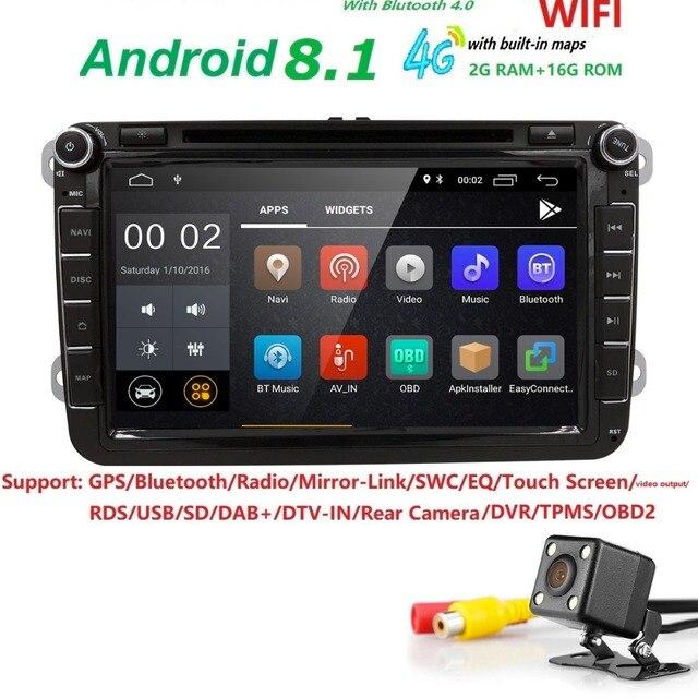 Android8.1 Car DVD Player Radio Gps Stereo forVW Volkswagen SKODA GOLF 5 Golf 6 POLO PASSAT B7 T5 CC J ETTA TIGUAN TOURAN 2 din