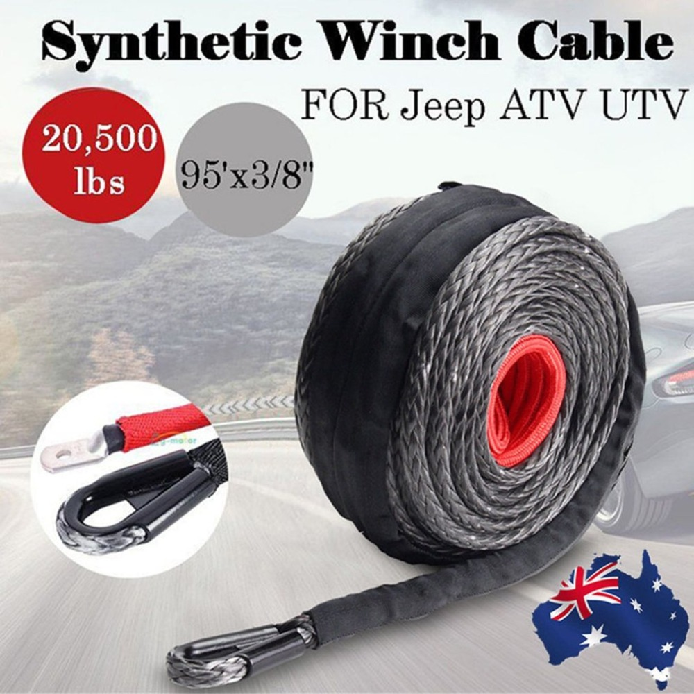 9.5mm*28m Synthetic Winch Line Cable Rope 20500LBs Hook + Hawse Fairlead For All-Terrain Vehicle Sports Utility Vehicle ...