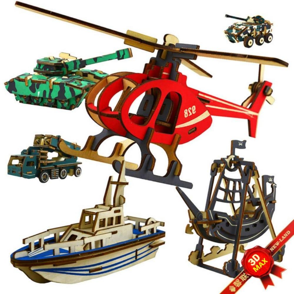 3D Wooden Puzzles Children Laser Weapon Wooden Aircraft ...