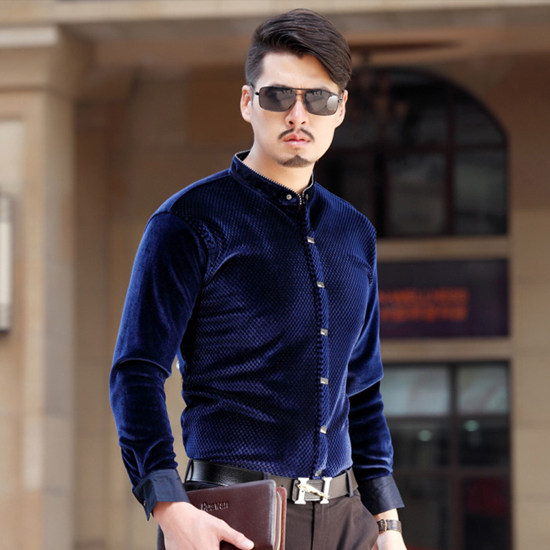 Gold Velvet Men s Business Casual Stand Collar Shirts 2017 New High end  Banquet Plus Size Solid Color Long Sleeved Shirt M 4XL-in Casual Shirts  from Men s ... 1db66142782f