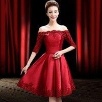 Красный атлас платье для выпускного вечера полурукавная аппликация кружево Brugundy по колено es Weding вечерние платья 2019 vestido de festa Курто