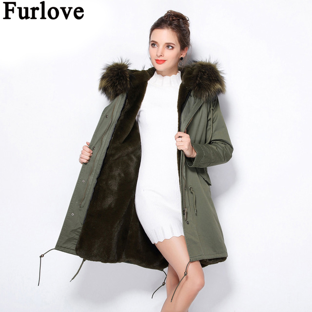 Furlove 2017 New Women Winter Coat Large Real Raccoon Fur Collar Hooded Long Jacket Detachable Faux Fur Lining Winter Parka 2017 winter new clothes to overcome the coat of women in the long reed rabbit hair fur fur coat fox raccoon fur collar