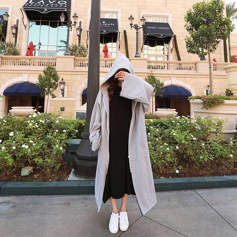 Free Shipping 2018 New Fashion Loose Straight Hooded Outerwear Women Long Maxi Plus Size S-XL Grey And Black Autumn Winter Coat
