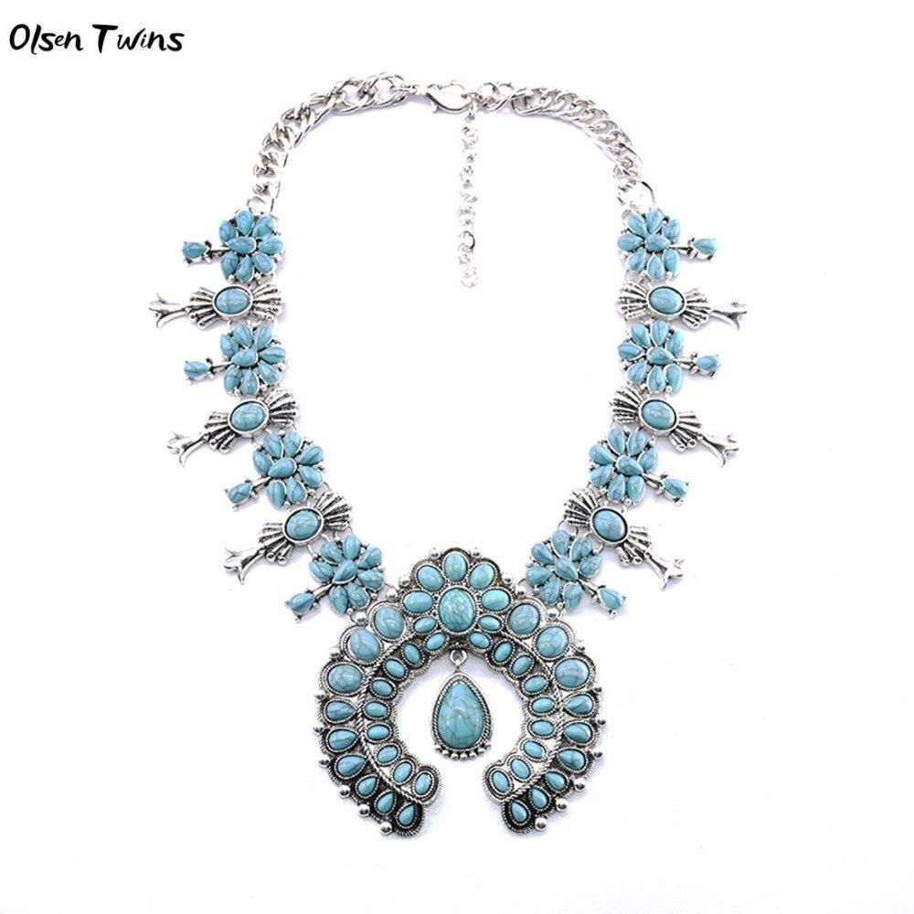 Olsen Twins Rot Grün Blau Lila Stein Blossom Blume Halskette, Vintage Silber Böhmischen Kostüm Schmuck Halskette Duftendes Aroma