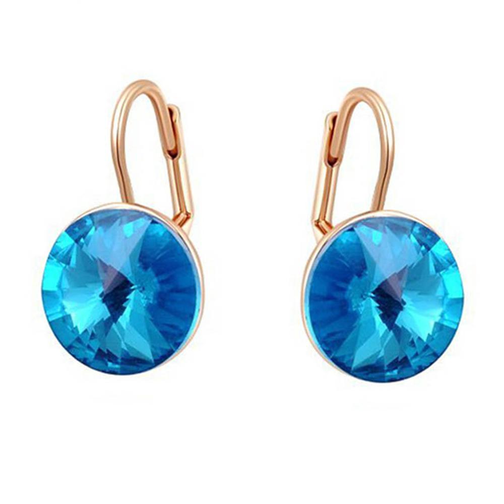 2017 charming Design hot rivori 1122 14mm round blue stone drop earrings  made with Swarovski elements 0ff37eb3f217