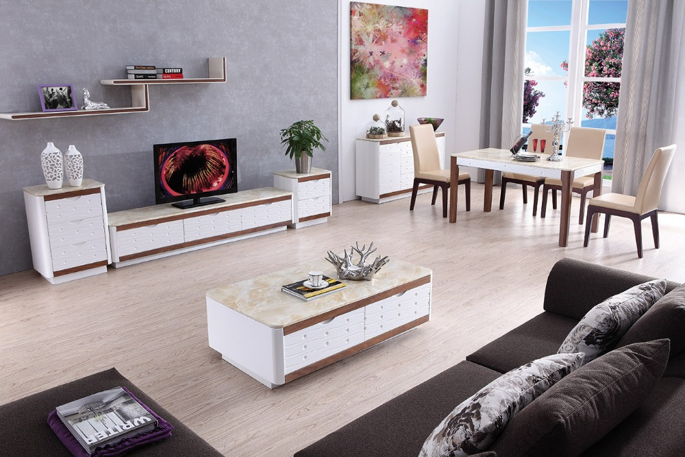 super popular 00d50 85d67 Lizz white living room furniture TV stand and coffee table ...