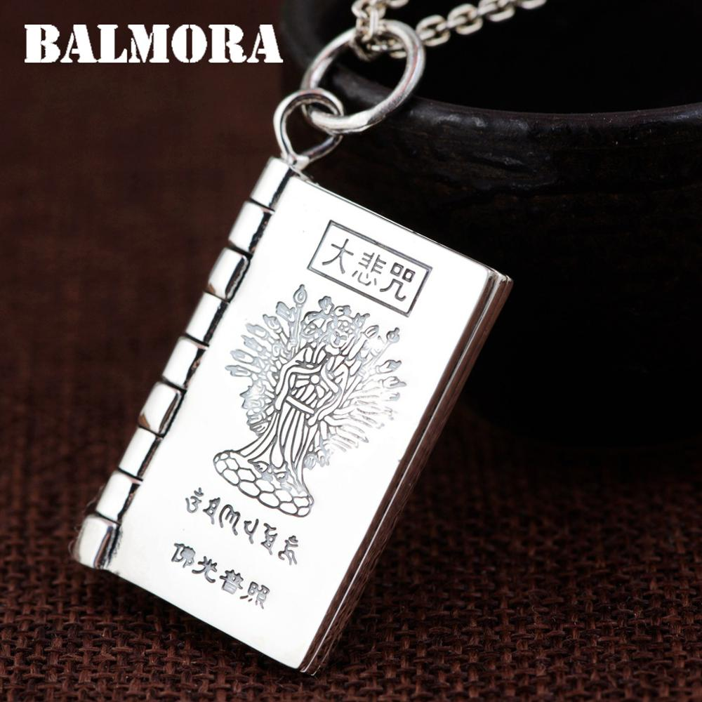 BALMORA 990 Pure Silver Buddhistic Scripture Pendants for Women Men Accessories Gift Religious Jewelry Without a Chain SY18166 men without women