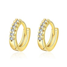 Classic gold color charm small hoop earrings jewelry with zircon women beautiful Christmas gift factory Hot(China)