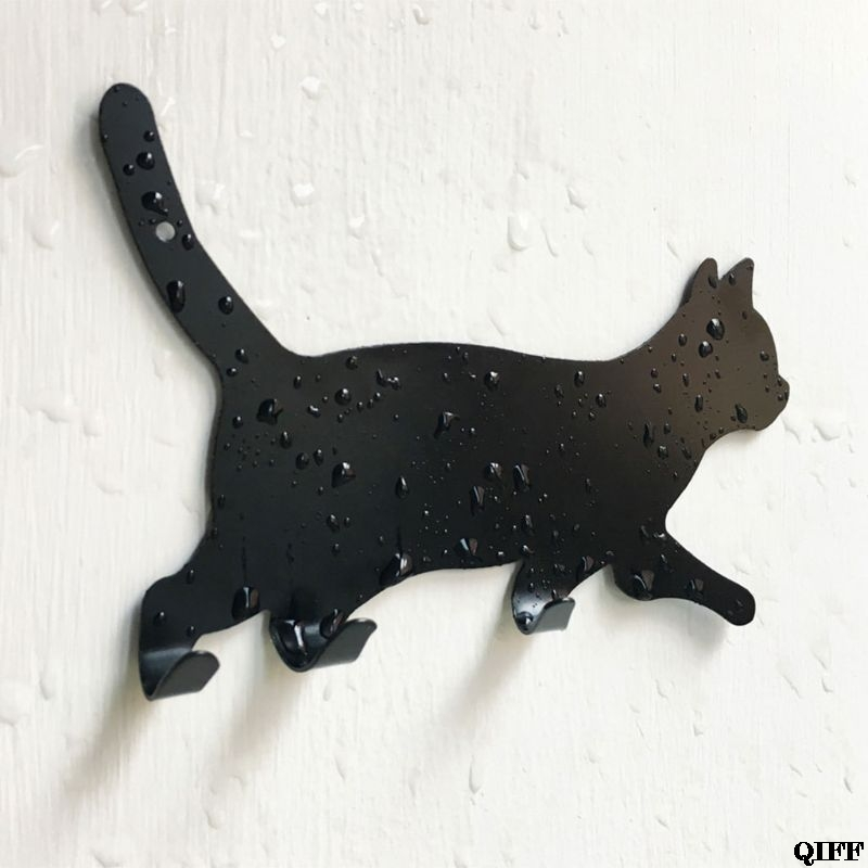 Drop Ship Vintage Cat Shaped Hooks Wall Door Rustic Hanger For Clothes Coat Hat Key Hanging Home Bathroom Decoration May30