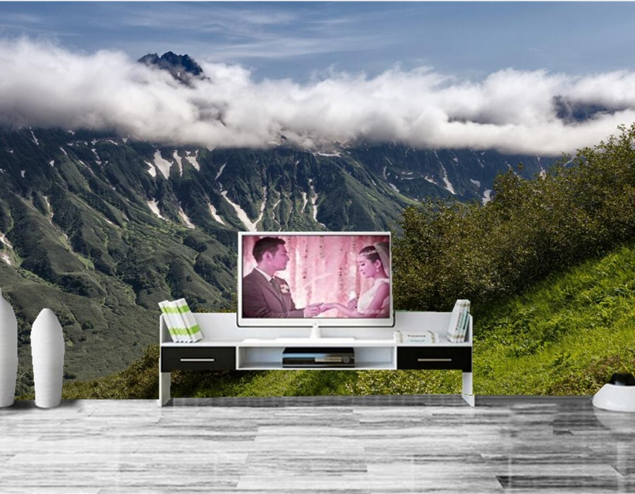 Mountains Shrubs Clouds Nature wallpapers,restaurant living room tv sofa wall bedroom 3d wall murals wallpaper papel de parede custom 3d mountains sunrises and sunsets forest trees rays of light nature papel de parede living room tv wall bedroom wallpaper