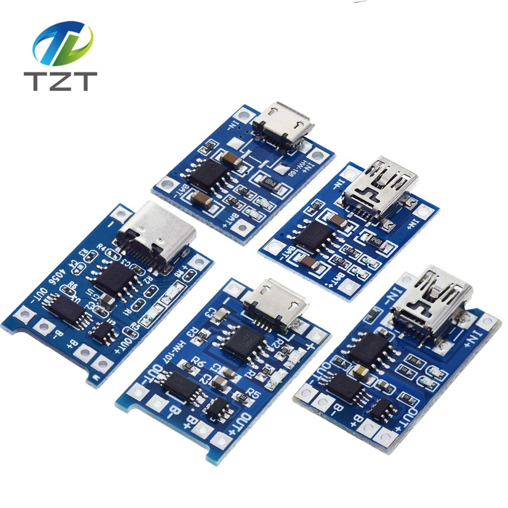 10Pcs Micro USB 5V 1A 18650 TP4056 Lithium Battery Charger Module Charging Board With Protection Dual Functions 1A Li ion-in Integrated Circuits from Electronic Components & Supplies