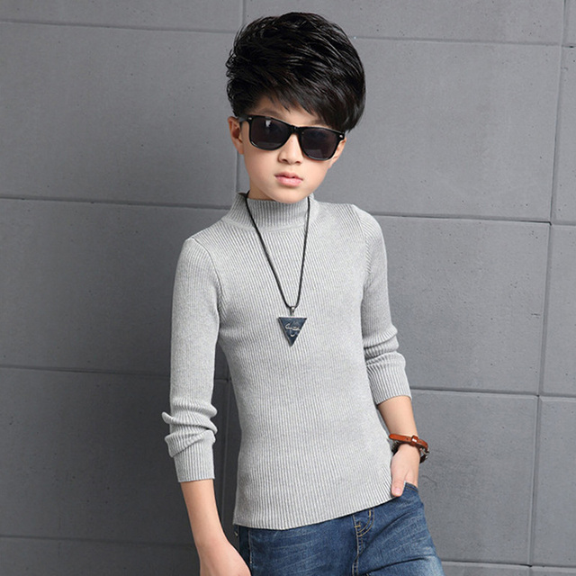 Boys winter plus thick velvet long-sleeved T-shirt 2016 new fashion baby boy clothing big virgin shirt 6/7/8/9/10/11/12/13 years