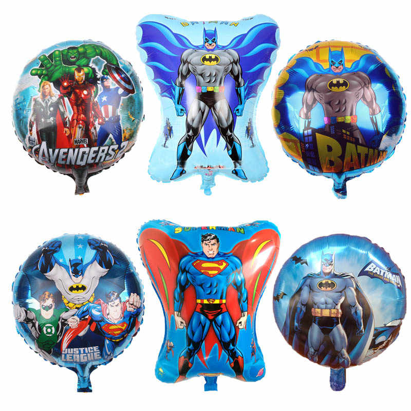 1pcs superhero Spiderman balloons The Avengers Foil balloon Batman Superman Iron Man birthday party decorations kids Supplies