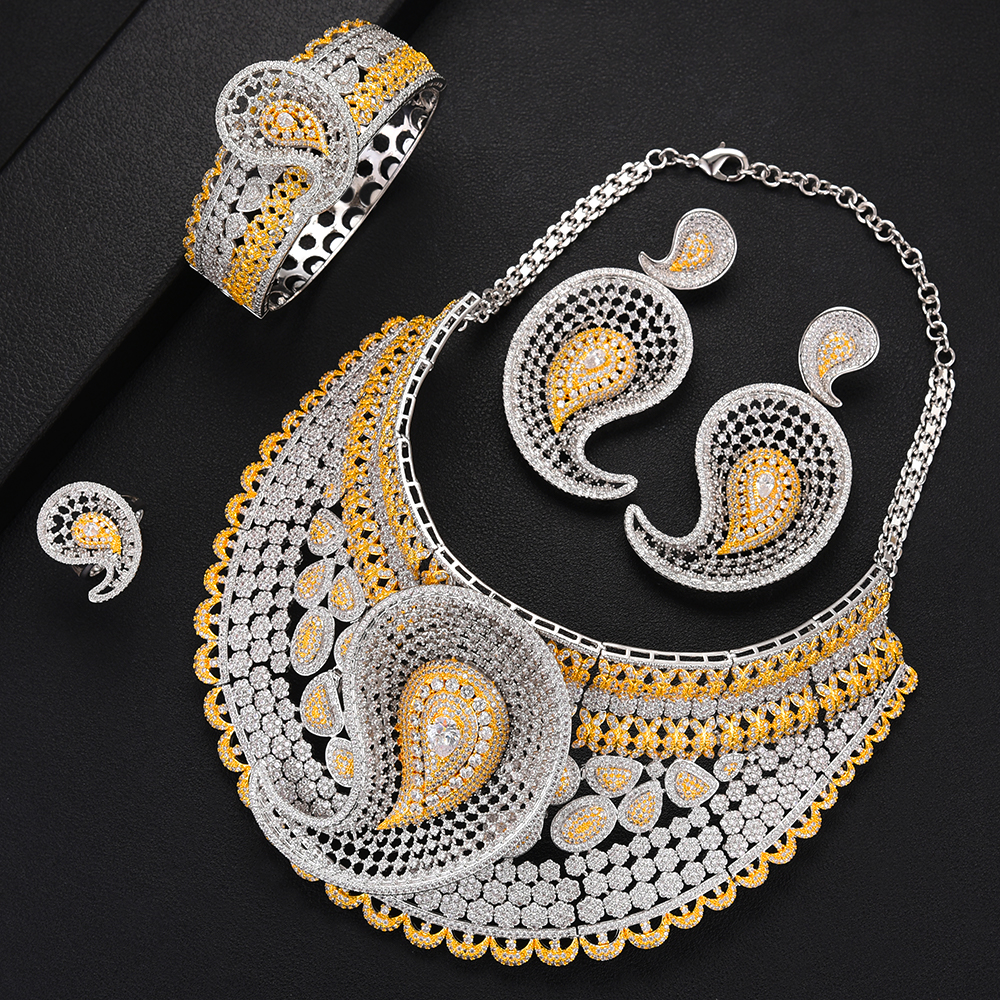 GODKI Luxury Water Drop 4pcs African Cubic Zircon CZ Nigerian Jewelry sets For Women Wedding Dubai
