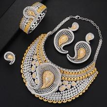 GODKI ensemble de bijoux de luxe en Zircon cubique africain, 4 pièces, CZ nigérian, pour femmes, mariage en or dubaï, 2019