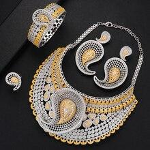 GODKI luksusowy kropla wody 4 sztuk afryki Cubic cyrkon CZ nigerii ślubne biżuteria zestawy dla kobiet Dubai złoty zestaw biżuterii ślubnej 2019