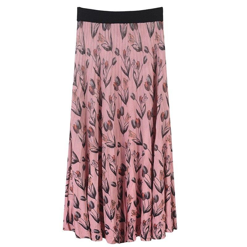 SRUILEE Design TuTu Skirt Lolita Women Skirt Striped Pleated Knit Skirt Midi Elastic Waist Flowers and Animal Beach Skirt Runway pink lace up design long sleeves top and pleated design skirt two piece outfits