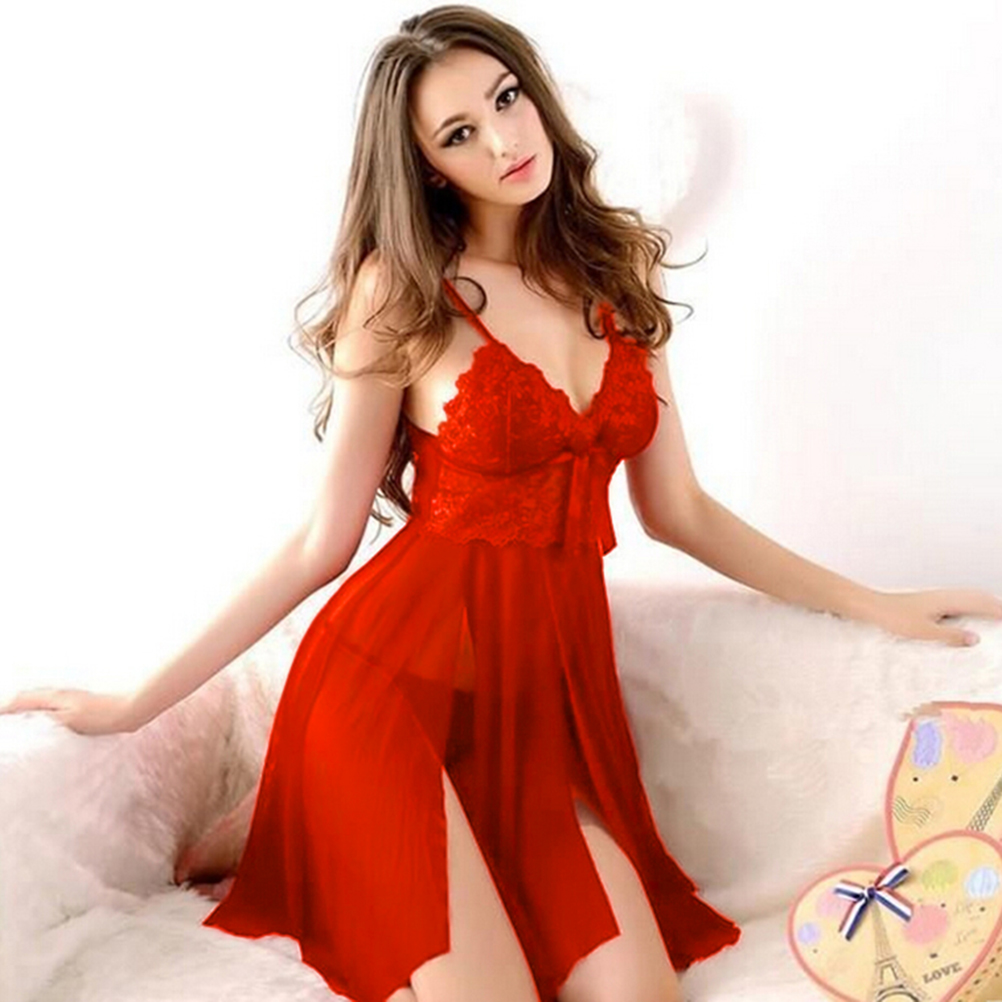 1set Women Evening Nightgown Nightie Sleepwear Lingerie Red Sexy Long Dressing Night Gown Transparent Dress