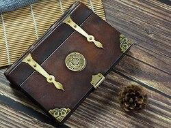 Estilo Medieval de cuero genuino diario hecho a mano recetas de letras diario trabajo folleto portátil mago estilo