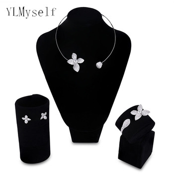 2020 new Bridesmaid wedding jewelry sets Necklace+Bracelet+earrings+gift ring Party accessories beautiful flower jewellery