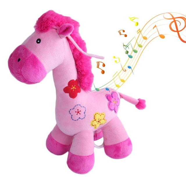 Super Soft Pink Deer Stuffed Animal Musical Adorable Plushie Toy And Gift Baby Pram Bed Hanging Decor For Babies Infants