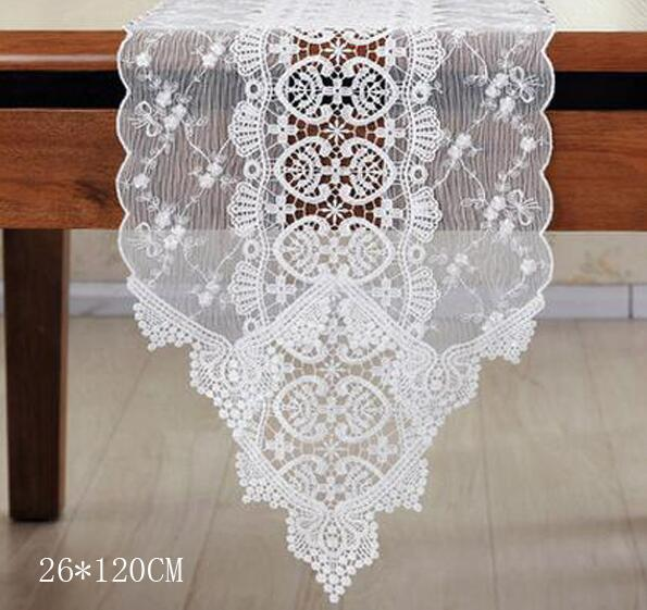 26*70CM Fashion White Tulle Lace Table Runner Cotton Fabric Tapestry  Tablecloth Placemat For Wedding