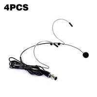 4PCS Mini XLR 3 Pin TA3F Wired Earhook Headworn Headset Mic Condenser Microphone System For SAMSON Karaoke Wireless Transmitter
