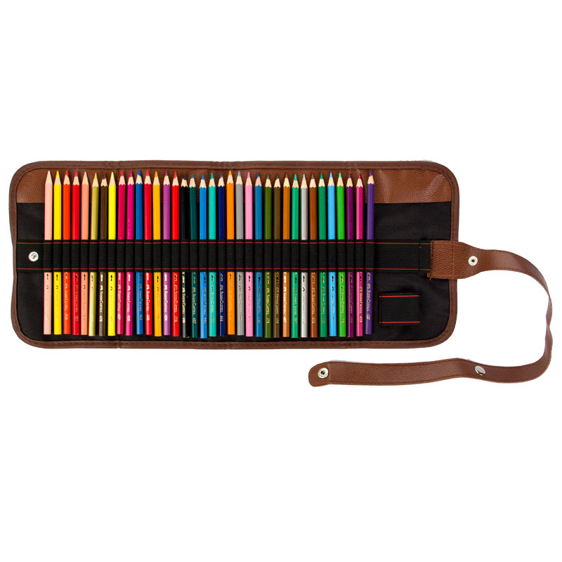 Simple and portable 24/36/48 Holes PU Leather Pencil Case Canvas Roll Pouch Pencilcase Sketch Brush Pen Pencil Bag ToolsSimple and portable 24/36/48 Holes PU Leather Pencil Case Canvas Roll Pouch Pencilcase Sketch Brush Pen Pencil Bag Tools