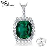 JewelryPalace Luxury 11ct Created Emerald Necklaces & Pendants Real 925 Sterling Silver Box Chain 45cm Fine Jewelry